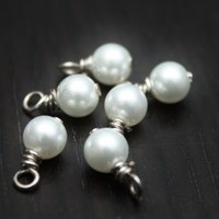 4mm Pearl Dangle Charms - Set of  24 - White or Cream