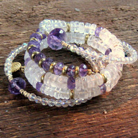 Amethyst Quartz Beaded Wrap Bracelets Set of 3 Boho Luxe Jewelry