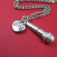 Microphone necklace for karaoke enthusiast singer silver charm chain
