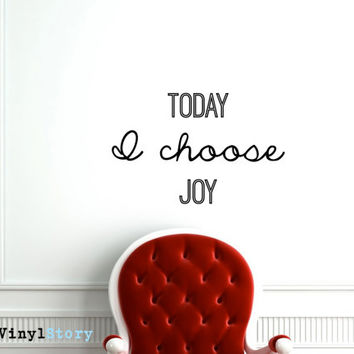 "Inspiring Typography Wall Decal Quote ""Today I Choose Joy"" 27 x 17 inches"