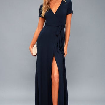 Evolve Navy Blue Wrap Maxi Dress