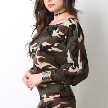 Camouflage Dolman Sleeve Knit Dress