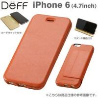Strapya World : Deff Genuine Card Flip Type Leather Case for iPhone 6 (Camel)