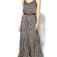 Mini Geo Pleated Maxi Dress
