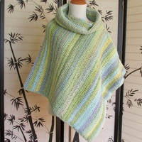 Womens Crochet Poncho, Striped Cape, Cowl Neck Poncho