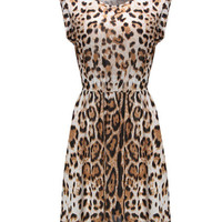 'The Mikayla' Leopard Printed Sleeveless Round Collar Dress