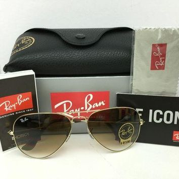 Gotopfashion NEW Ray Ban RB3025 Aviator 001/51 Brown Gradient Lens Gold Frame Sunglasses 62mm