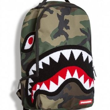 Sprayground Chenille Woodland Shark Deluxe Backpack Bag