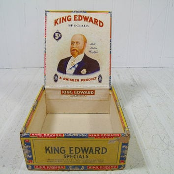 Lovely Old Antique King Edward Specials Cigar Box - Square Vintage Colorful Cardboard Tobacco Box - Funky Cash Box Tobacciana Display Chest