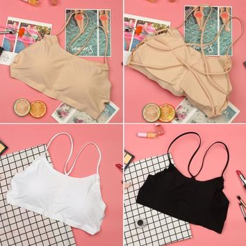 3 Colors Women Tank Tops New Summer Workout Crop Top Camisole Sexy Back Cross Straps Tank Spaghetti Vest Cami Bralette Top