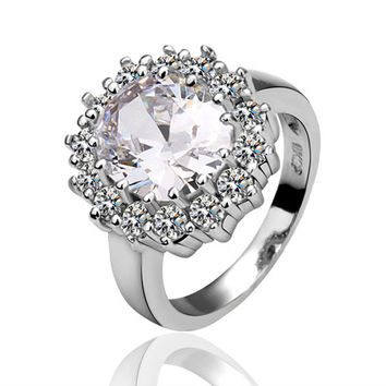 White Flower Zirconia White Gold Plated Ring
