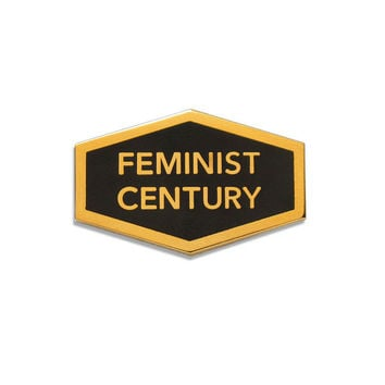 Feminist Century Enamel Pin in Black and Gold