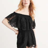 Womens Off-The-Shoulder Lace Romper | Womens Dresses & Rompers | Abercrombie.com