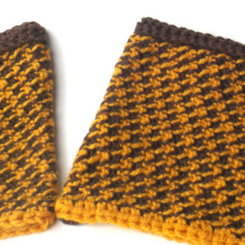 Reversible Crochet Boot Cuffs Houndstooth Pattern Winter Fashion Accessory