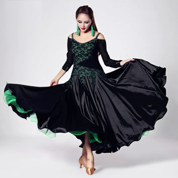 multi color big hemlines lace splicing ballroom flamenco dance competition dress modern dance square dance stage perfromance