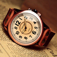 Men's Watch Leather Watch for Man Big Face Retro Design