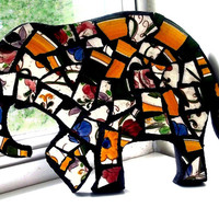 Elephant Mosaic Wall Art, Broken Dish Mosaic,Decor, Nursery, Housewarming, Hippie Art, Bohemian Decor