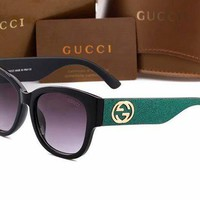 GUCCI 2018 new double G fashion wild sunglasses sunglasses Green