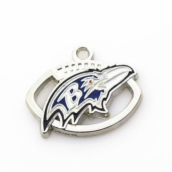 Hot sale 50pcs/lot football team Sports Baltimore ravens Silver Dangle charms DIY Jewelry  For Hanging Bracelet&necklace