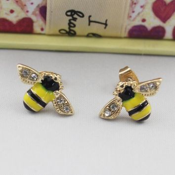 2 Colors Enamel Cute Bee With Rhinestone Stud Earrings Popular Delicate Honey Bee Earrings For Party Women Girls Brincos Gifts