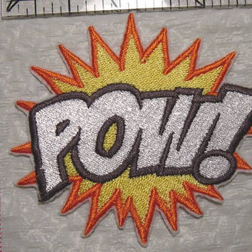 "3.75"" x 3.5"" - POW! - Comic Book Superheros Words FULLY Embroidered Patch - applique - Made in USA"