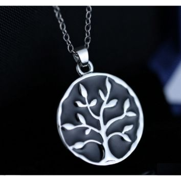 Family Life Art Tree Pendant Necklace Chain For Women