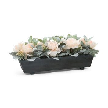 Faux Peonies In Wooden Planter