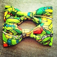 ‎Teenage mutant ninja turtles ‬print handmade fabric hair bow or bow tie from Bowlicious Divas Bowtique