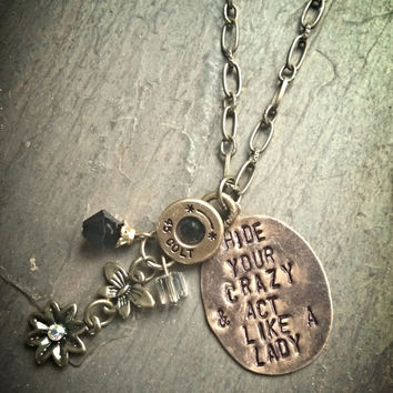 "Miranda Lambert inspired bullet necklace. ""Hide your crazy & act like a lady"""