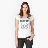 'Mischievous Kitty Cat' Women's Fitted Scoop T-Shirt by JevLavigne