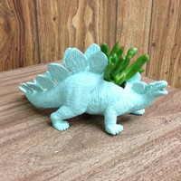 Up-cycled Sea Glass Stegosaurus Dinosaur Planter