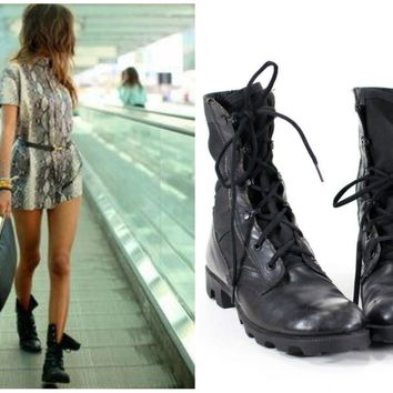 Vintage Military Boots Black Leather Army Combat Boots Womens Size 9