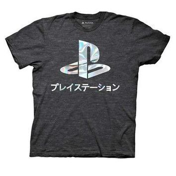 PlayStation Silver Holographic Logo Licensed Adult T-Shirt - Charcoal Gray