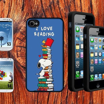Hand Made I Love Reading Snoopy  Designer Case Plastic Snap for iPhone 4 4S 5 5C 5S Galaxy S3 / S4
