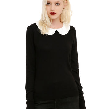 Black & Ivory Lace Button Girls Pullover Top