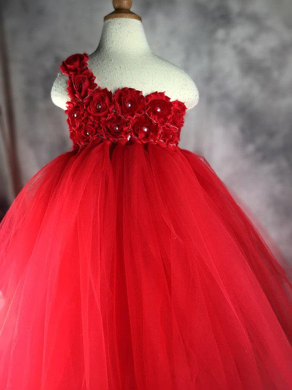 Red Flower girl dress Tutu dress Wedding from vivilovelytutudress