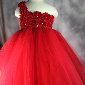Red Flower girl dress Tutu dress Wedding dress Birthday dress Newborn 2T to 8T