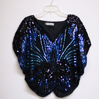 SALE 80's Sequin Butterfly Style Blouse by Hippieindisguise