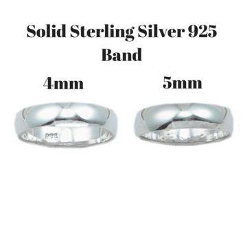 Classic Wedding Solid Sterling Silver Round Ring Band in 4mm or 5mm