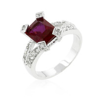 Ruby Cubic Zirconia Fashion Ring, size : 07