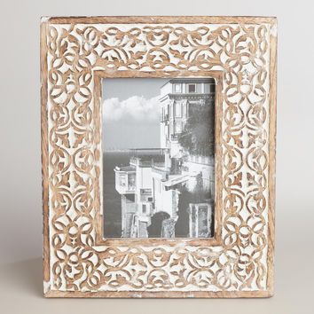Whitewash Carved Wood Deja Frame - World Market