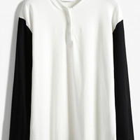 White Contrast Long Sleeve Buttons T-Shirt