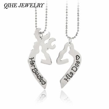 QIHE JEWELRY His Doe, Her Buck Love Heart Shape Broken Half  Buck & Doe Couple Necklace Valentine's Day Creative Lovers Gifts