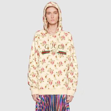 """""""Gucci"""" Women Casual Letter Flower Print Loose Long Sleeve Pullover Hooded Sweater Sweatshirt Tops"""