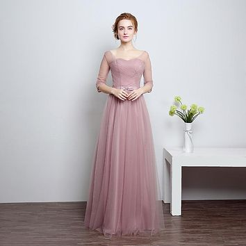Slim Cameo Brown A Line Quater Sleeve Transparent Shoulder Bow Sash Beauty Simple Long Dress Draped Bridesmaid Gown  C73LF801LB