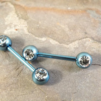 Light Blue Titanium Nipple Bar Jewelry Barbell with Crystal Ball Ends