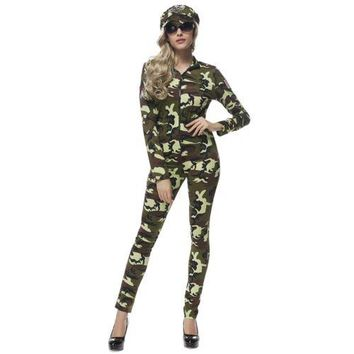 Army Green Drillmaster Costume Cosplay Bar Camouflage Game Uniform
