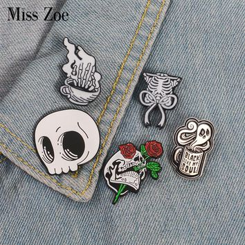 Skeleton enamel pin Skull coffee ghost rose badge brooch Lapel pin Denim Jean shirt bag Gothic Punk Jewelry Gift for Friends