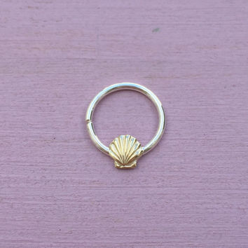 Seashell Septum Ring - Solid 9ct Yellow gold and Sterling Silver - Septum Daith Rook
