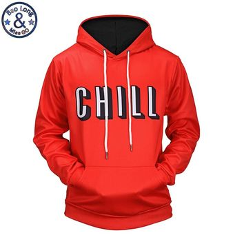 """Mr.BaoLong new men's drawstring hooded hoodies fashion letter """"Chill"""" 3D printed pullover hooded sweatshirts man H67"""